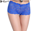 Annajolly Boyshort Women Fashion Boxers Panties Top Embroidery Lace Underpants Blue Sexy Underwear Lingerie Free Shipping 8593