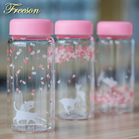 Kawaii Japanese Sakura Glass Water Bottle Creative Cute Cartoon Animal Camping Sport Bottle For Girl