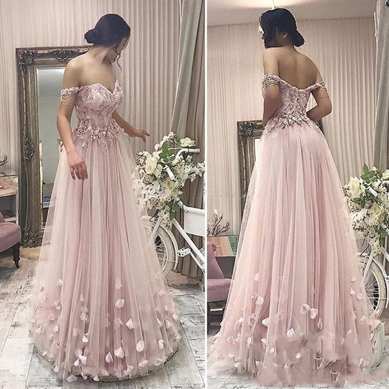 2019 New Arrival Dusky pink   Prom     Dresses   A Line Off Shoulder Lace Appliques Tulle Floor Length Cheap Party   prom   gown   prom     dress