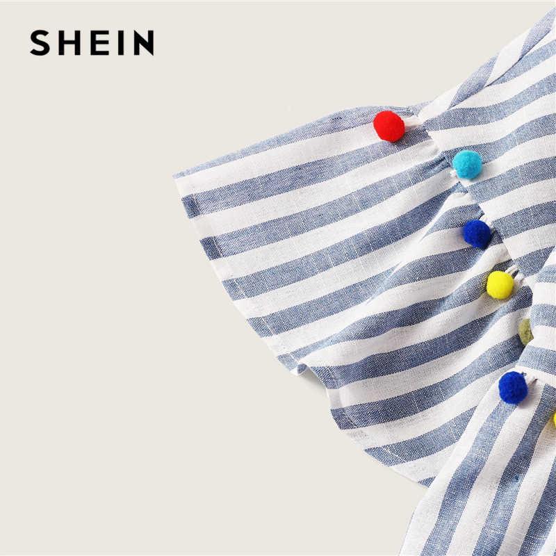 SHEIN Boho милое синее яркое Полосатое свободное летнее платье с помпоном женская короткая туника с высокой талией прямые платья