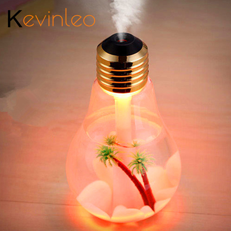 400ML Bulb Essential Oil Diffuser Ultrasonic LED USB Port Plant Plant Tree 3 Colour for Option Arus Diffuser Difusores Humidifier Usb