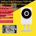 Câmera IP Fisheye de 185 Graus Visão Completa HD 720 P P2P Sem Fio WI-FI Câmera de Rede CCTV Noite