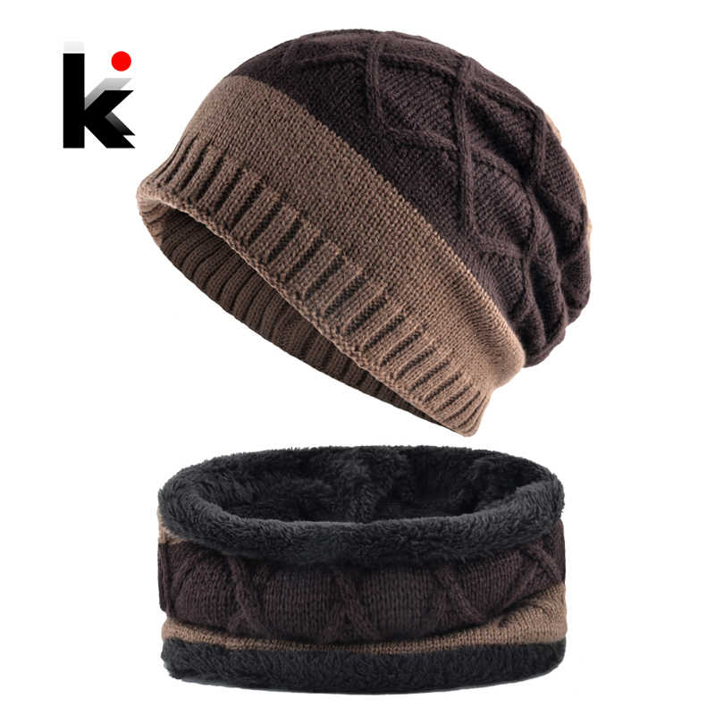 27c76c9ac91 Thick Hat Scarf Set 2018 Winter Men s Knitted Striped Beanies Cap Men  Double Layer Add Velvet