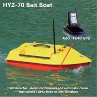 Novo Grande RC HYZ-70 Bait Barco de Fibra de vidro 2.4G 500 M Barco de Pesca de Controle Remoto Eletrônico Adicionar Detector de Peixe/GPS/Cruzeiro Automático