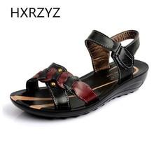 Nouvelles femmes chaussures en cuir Véritable de sandales pente avec boucle dame mode casual plage chaussures semelle en caoutchouc grande taille 35-42