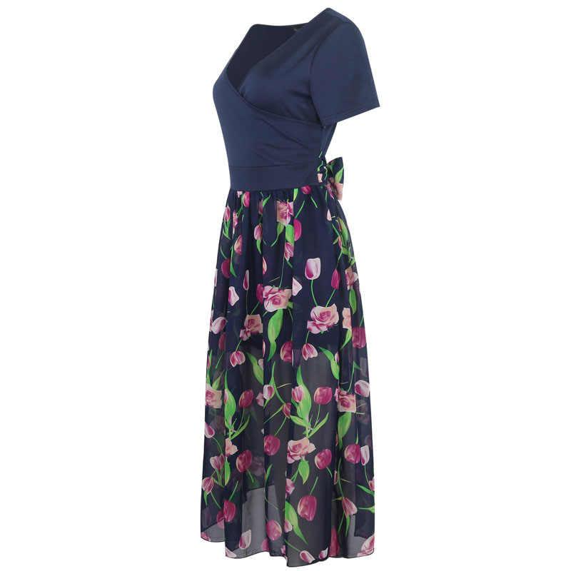 Lerfey Для женщин шифон цветочные лоскутное повседневные платья Глубокий V Средства ухода за кожей Шеи Плиссированные партии длинные элегантные Макси Платья Vestidos Новый Костюмы