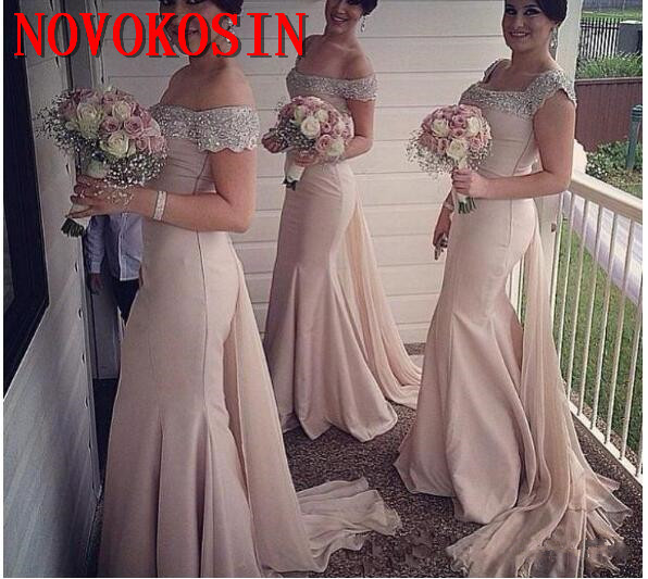 Champagne Mermaid Bridesmaid Dresses Crystal Beading Off Shoulder Simple Wedding Guest Dress Sweep Train Long Special Occasion
