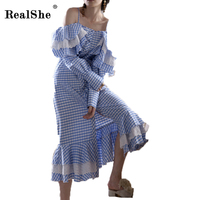 RealShe Women Long Sleeve Plaid Dress Womans Strap Ruffles Vestidos Female Cotton Dresses Summer Beach Dress