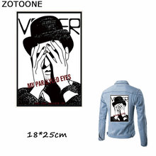 ZOTOONE New Cool Fashion My Paralyzed Eyes Iron on Patches Heat Transfer for Clothes Thermo Stickers Stripes Applique
