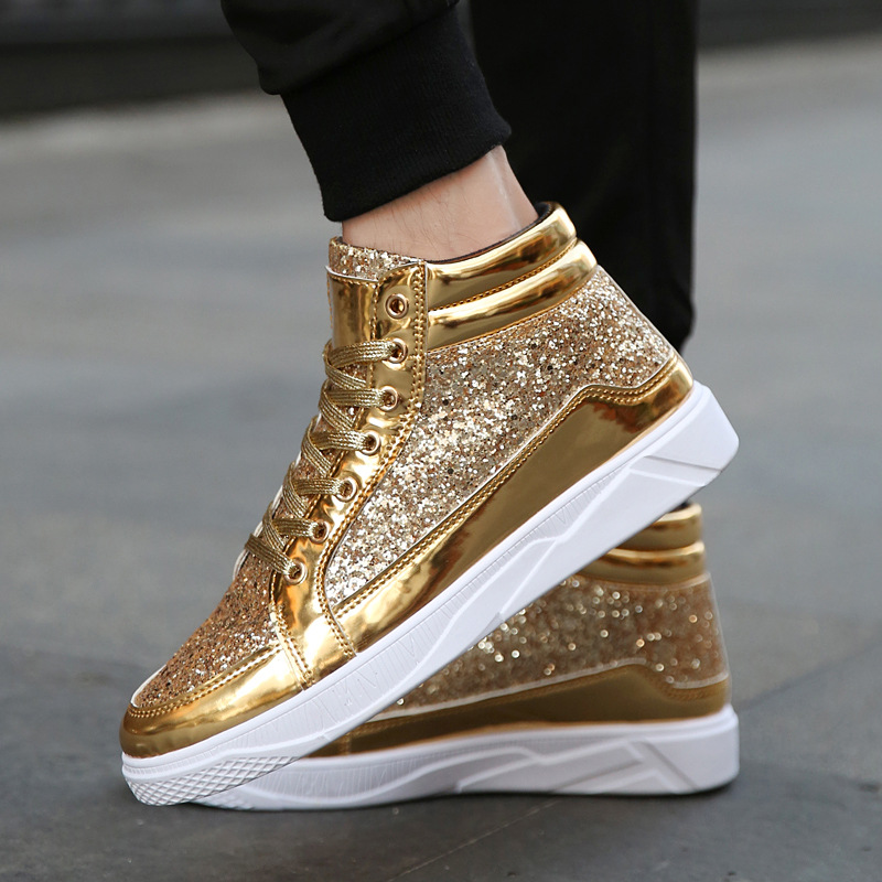 2019 Men Vulcanized Shoes Sneakers Lace up Casual Basket Shoes Bling Mirror Leather Flat Shoes Patent leather Glossy BH 22