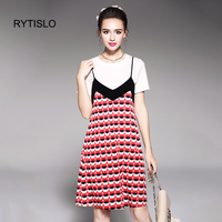 RYTISLO Women 2 Piece Set 2017 New Casual Summer Cotton White Tops And Lovely Dots Print
