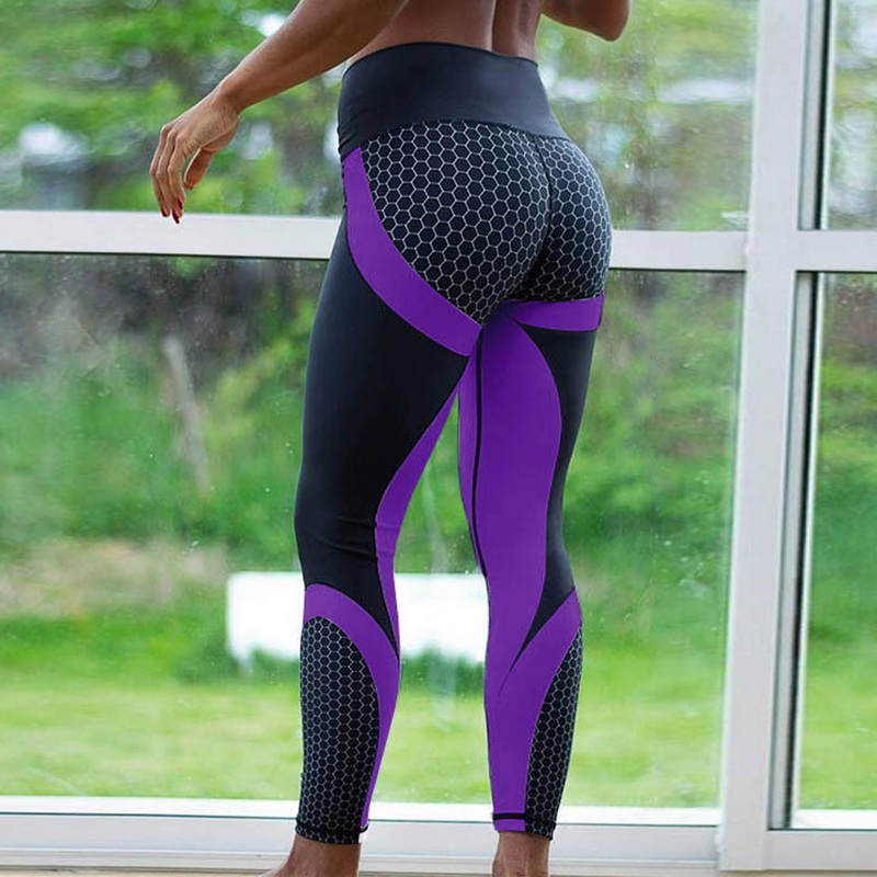 2019 Hot Honeycomb Printed Yoga Pants Women Push Up Sport Leggings Professional Running Leggins Sport Fitness Tights Trousers