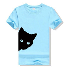 Showtly   Cute Cat Looking Out Side Print Women's T Shirt Funny Casual Super Soft For Lady Girl Tee Tops  Hipster Short Sleeve недорого
