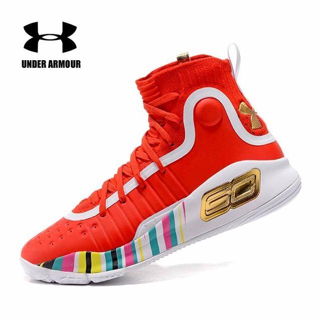 Under Armour UA Curry 4 CS Basket Sepatu Pria Lebih Menyenangkan Dublin Rentang Emas Putih Merah Cal Beruang Sneakers Pria sepatu Olahraga 40-45