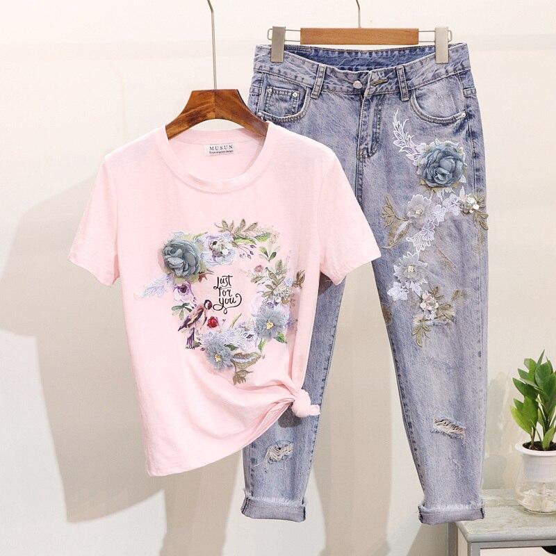 Costume Neuf Deux Jeans Trois Nouvelle Fleur noir Pièces Trou T Imprimé Coton Dimensions De rose Femmes En shirt Cent Été White Printemps Ensembles Broderie IZxqaa7