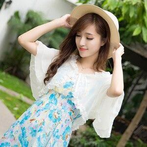 Image 2 - Chaqueta blanca de manga corta de gasa para mujer, Bolero, playa, boda, novia, verano, capa elegante, ropa de protección solar