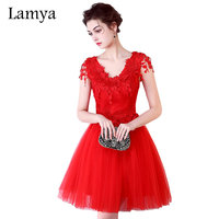 Lamya 2017 Summer Style Red Lace Appliques Women Short Tulle Ball Gown Prom Dresses Sexy Backless