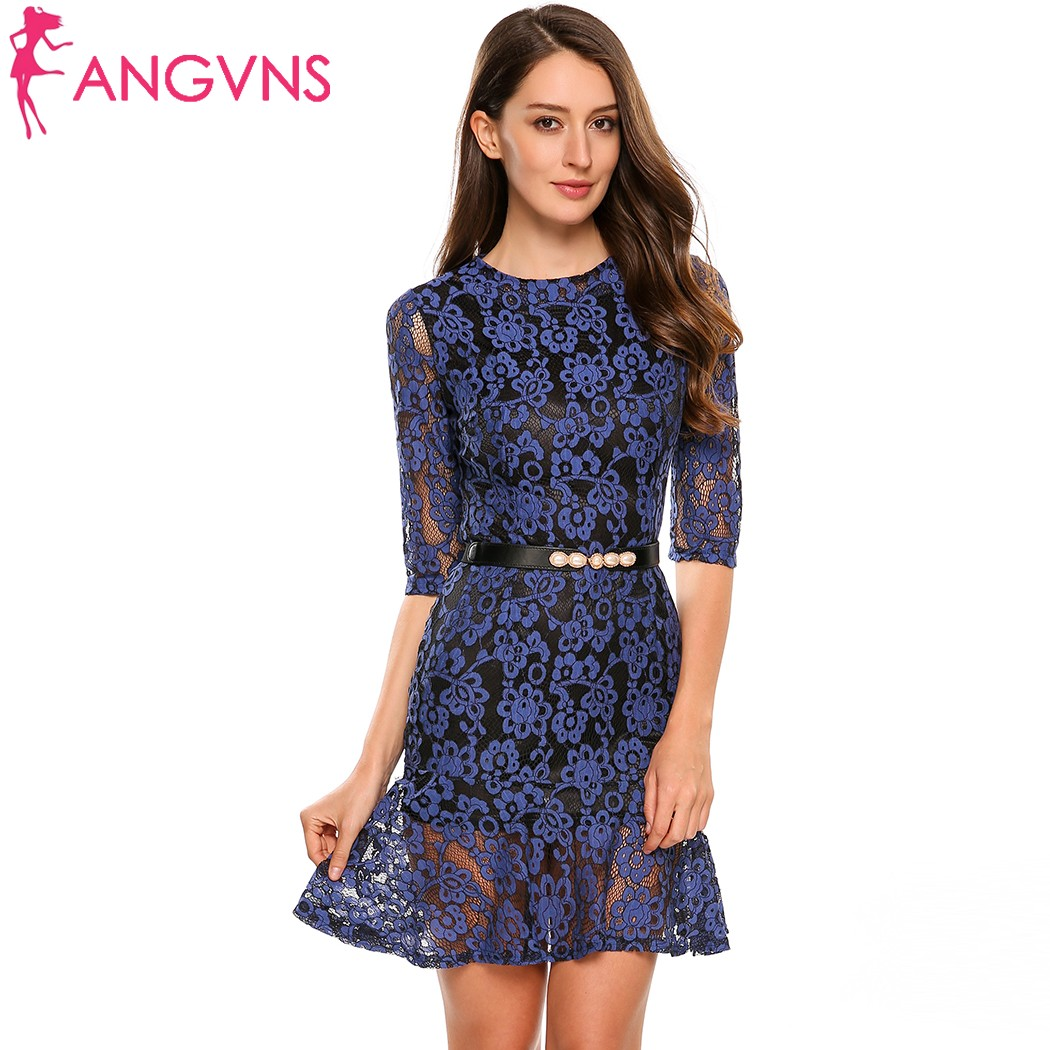 ANGVNS Women Elegant Lace Dress Embroidery See Through Lace Party Evening Special Occasion Sheath Dresses Vestidos Lace Dress