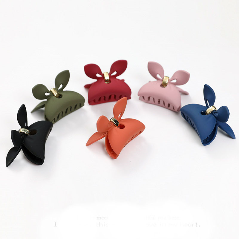 1 Pcs Rabbit Ear Acrylic Hair Clip Fashion Candy Color Scrub Hair Claw Hair Clamp Grips Barrette For Women Hair Styling Tools in Hair Clips Pins from Beauty Health