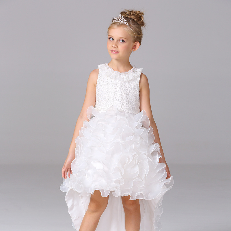 5fdf293ad7 girls dresses summer 2018 trailing dress long cakebow princess dress  costumes roupas infantis menina girls dress