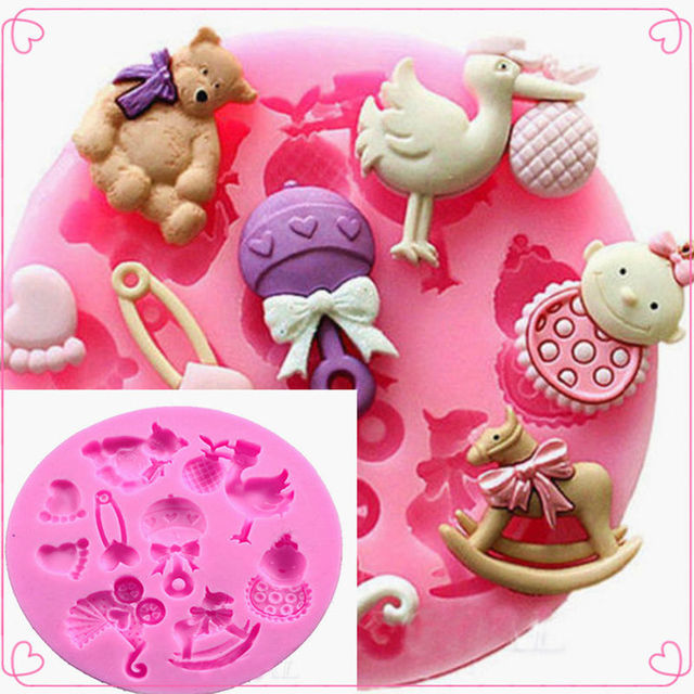 LIMITOOLS Baby Shower Party 3D Silicone Fondant Mold For Cake Decorating Cake sugar craft Chocolate Moulds Tools DIY