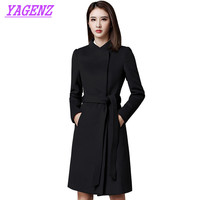 Autumn Winter Woolen Jacket Occupation Women Slim Long Wool Coat High quality Women Stand collar Plus size black Overalls B443