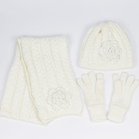3 Pcs Floral Crochet Girls Hat Scarf Mitten Set Spring Autumn Winter Kids Beanies Scarf Glove