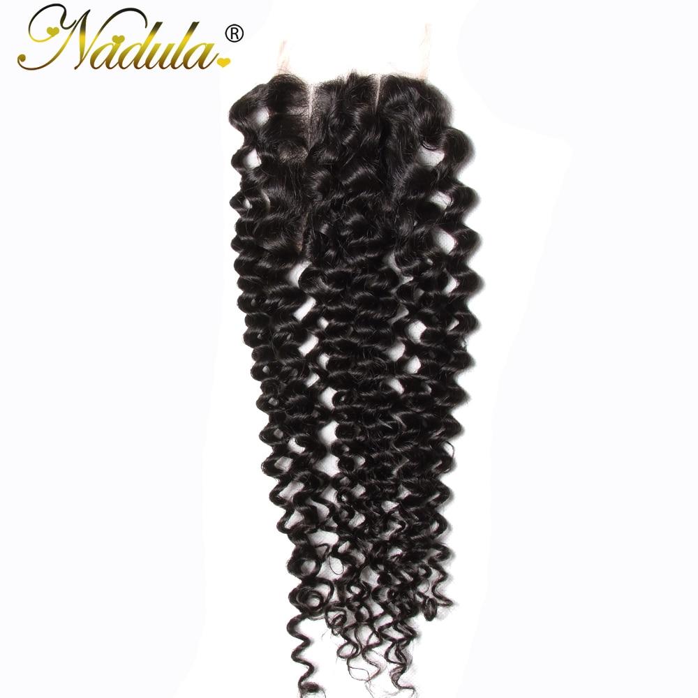 Nadula Hair 4 4 Three Part Malaysian Curly Closure Remy Hair Weave 100 Human Hair Swiss
