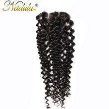 Nadula Hair 4*4 Three Part Malaysian Curly Closure Non Remy Hair Weave 100% Human Hair Swiss Lace Closure Free Shipping