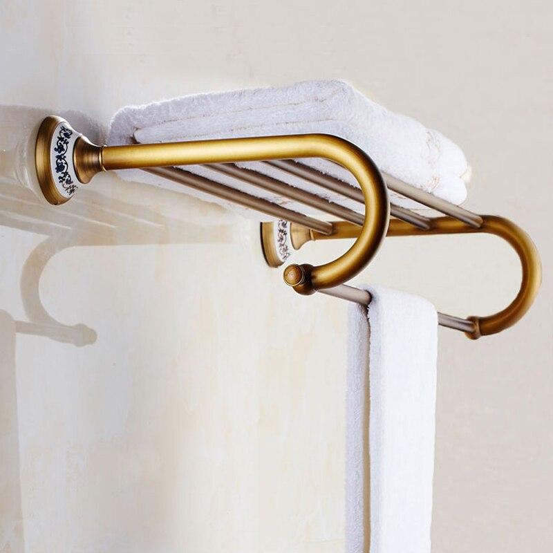 European Antique Towel Racks Brass  Brushed Bathroom Accessories Double 60CM Towel Rack Bath Hardware european brass