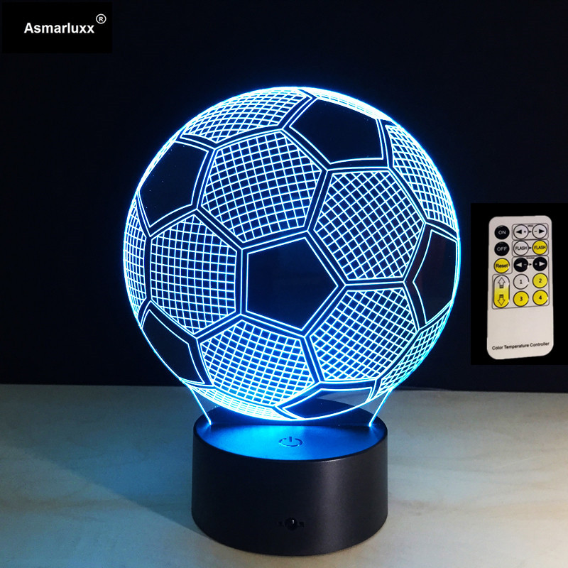 3D Illusion Football Remote Or Touch Control LED Desk Table Night Light 7 Color Touch Lamp Kids Family Holiday Christmas Gift