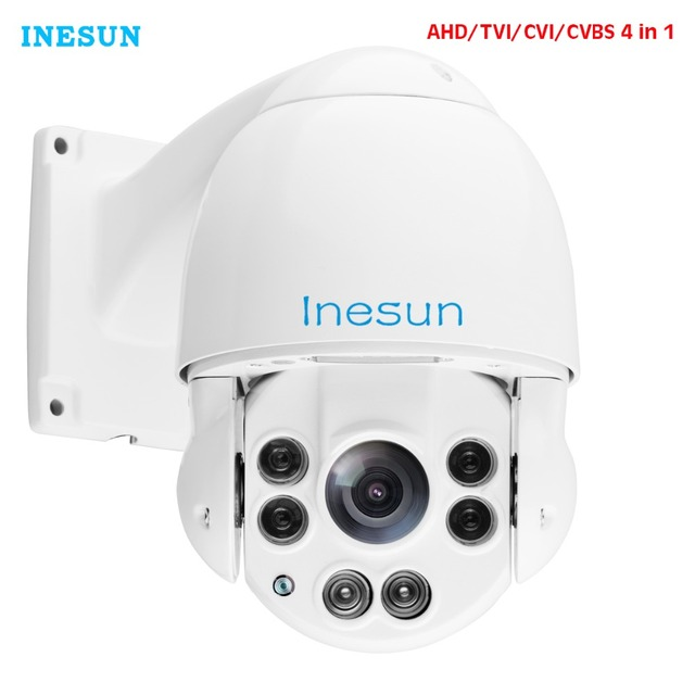 Inesun Outdoor Security CCTV Camera Full HD 1080P 4 in 1 CVI/TVI/AHD/CVBS 10X Optical Zoom High Speed Dome 165ft Night Vision