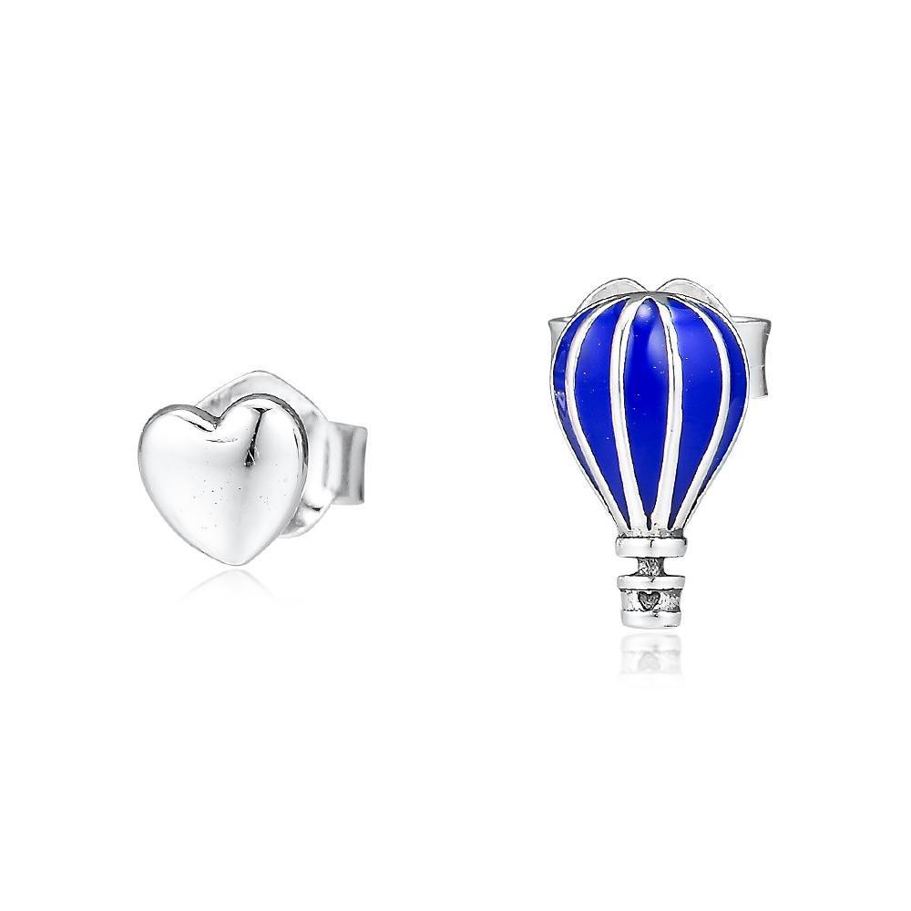 Hot Air Balloon & Heart Stud Earrings 925 Sterling Silver Jewelry Free Shipping