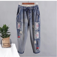 Women Spring Summer Ankle Length Pants Jeans 2017 Female Loose High Quality Embroidery Large Size Denim