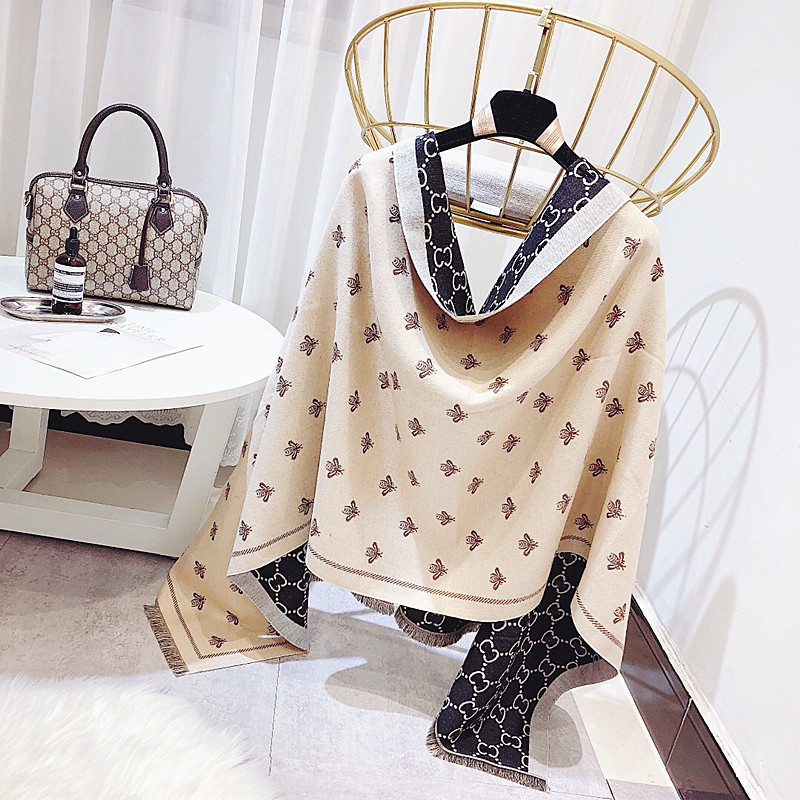2018 Hot Sale Winter Hijab New Fashion Joker More Female Bees Double Color Matching Imitation Cashmere Han Edition To Keep Warm