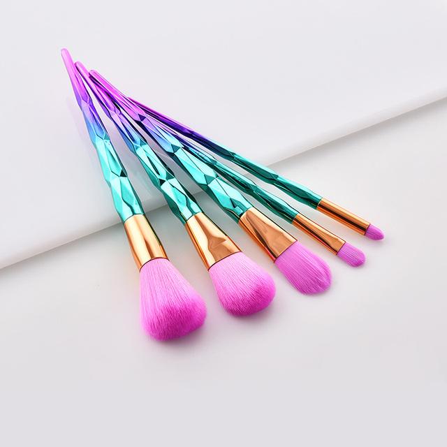 5 Piece Chrome Green And Purple Mermaid Unicorn Diamond Makeup Brush Sets