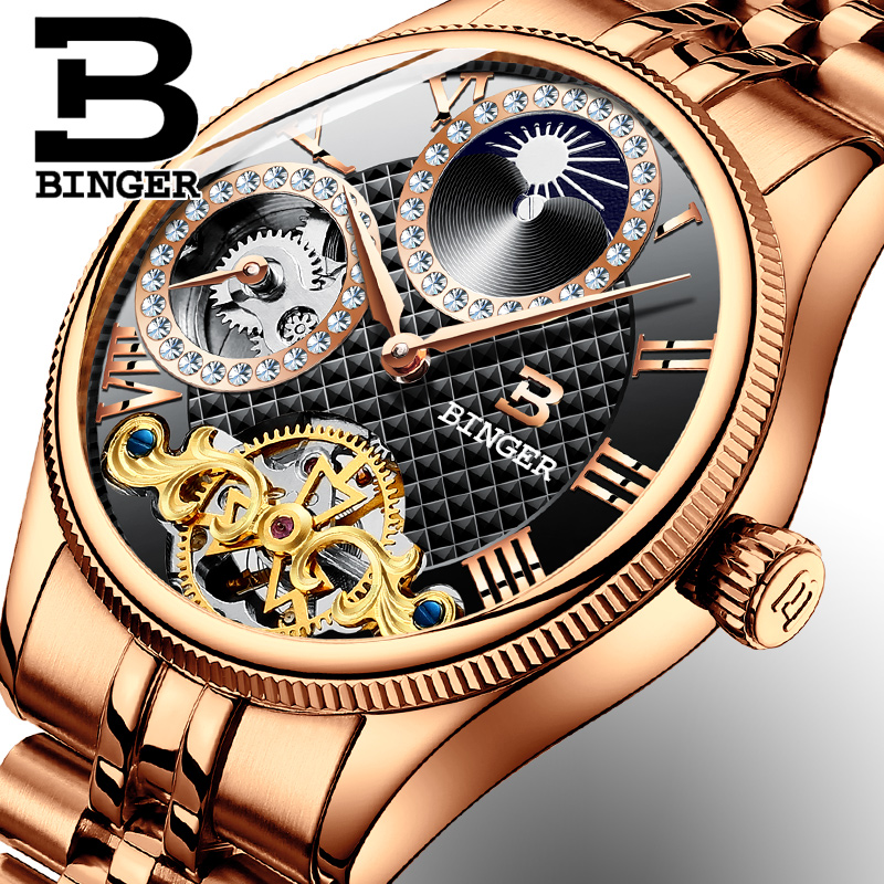 2017 New Mechanical Men Watches Binger Role Luxury Brand Skeleton Wrist Waterproof Watch Men sapphire Male reloj hombre B1175-6 new binger mens watches brand luxury automatic mechanical men watch sapphire wrist watch male sports reloj hombre b 5080m 1