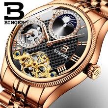2017 New Mechanical Men Watches Binger Role Luxury Brand Skeleton Wrist Waterproof Watch Men sapphire Male reloj hombre B1175-6
