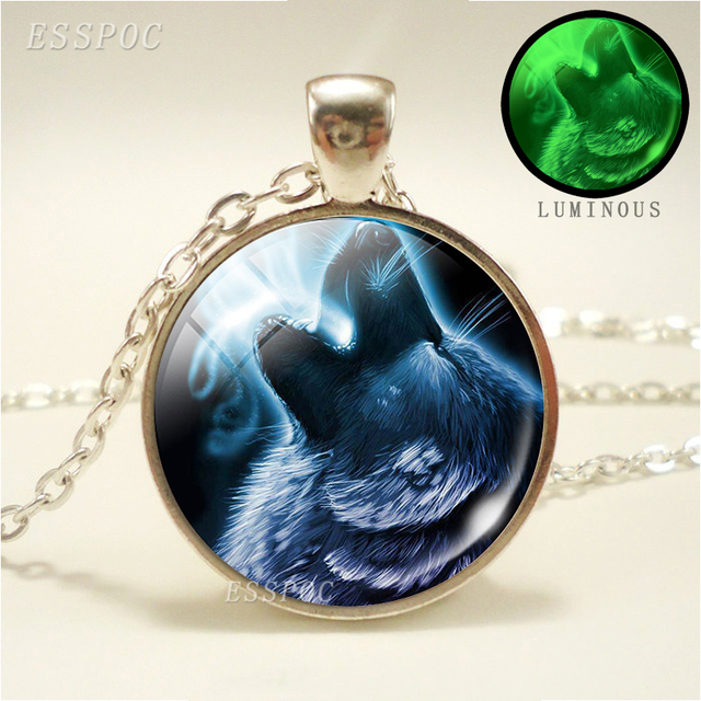 Glowing Wolf Pendant Silver...