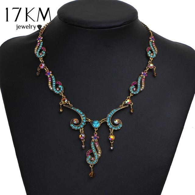 17KM Vintage Colorful Crystal Tassel Flower Statement Necklace for Women New Gol