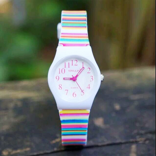 Willis Mini Women's Colorful Striped Print Quartz Analog Watch With Plastic Strap Women Dress Watches 0150  10pcs/lot
