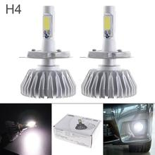 цена на 2pcs All In One H4 12V 60W LED Headlight 6000LM White 6000K Conversion Bulb Vehicle DRL Light Car accessories for Cars  Auto