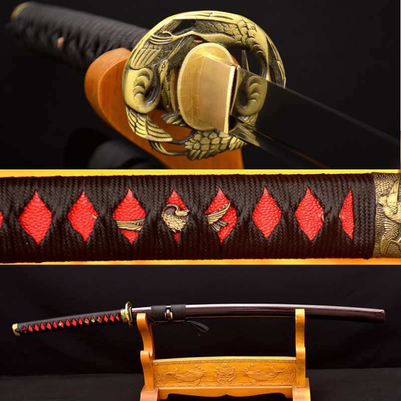 Samurai Japanese Sword KO-KATANA Hand Made 1095 Carbon Steel Full TANG Alloy Crane Tsuba Practice Sharp Blade Can Cut Bamboos