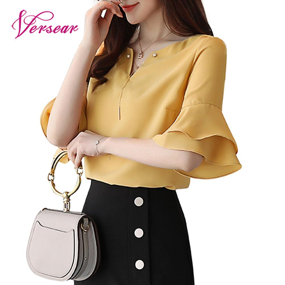 Versear 2018 Summer Women Chiffon Blouse Shirt V-neck Ruffled Sleeve Bead Chain Elegant White Yellow Femme Tops Blouse Plus Size