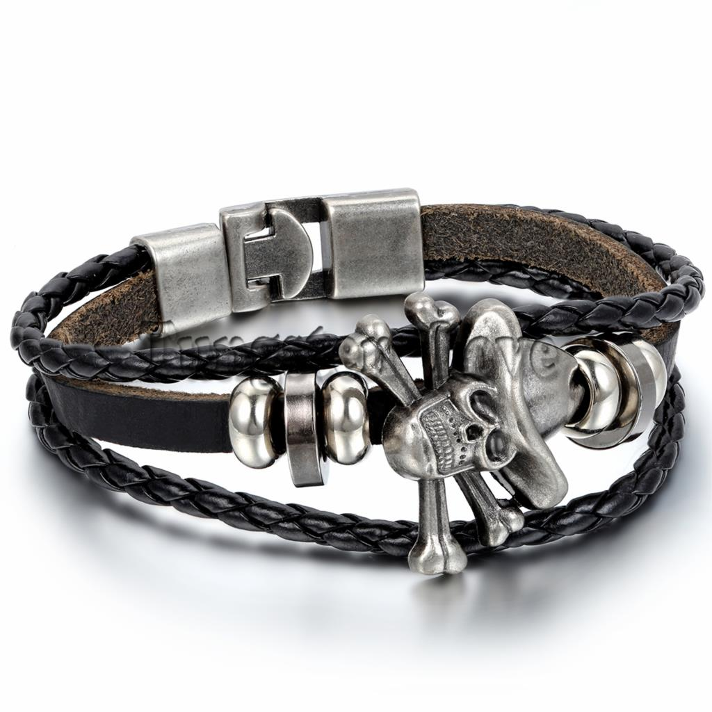 Fashion Jewelry Leather Bracelet Mens Piece Skull Bracelets Braided Women Gift Black / Brown pulseira masculina couro