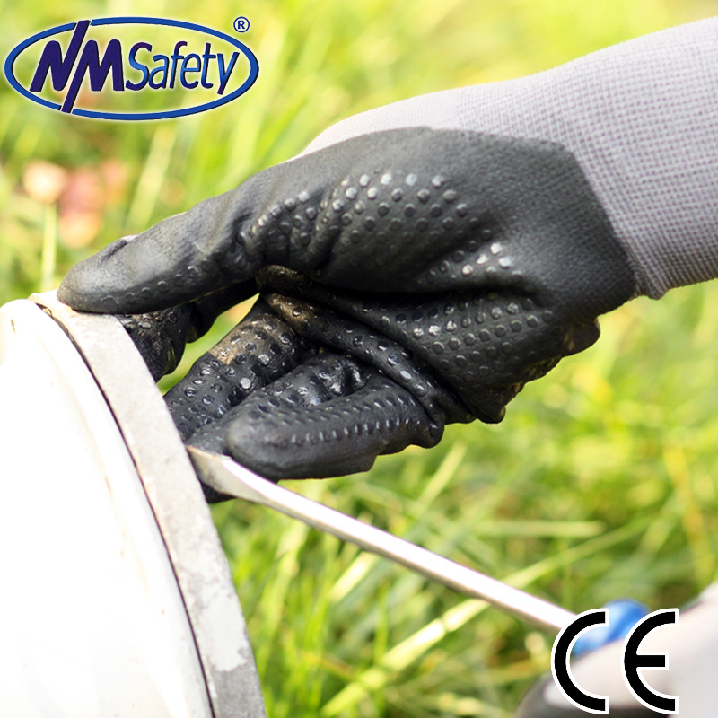 NMSafety 15 Gauge nylon with dotted nitrile on palm working protective gloves,working gl ...
