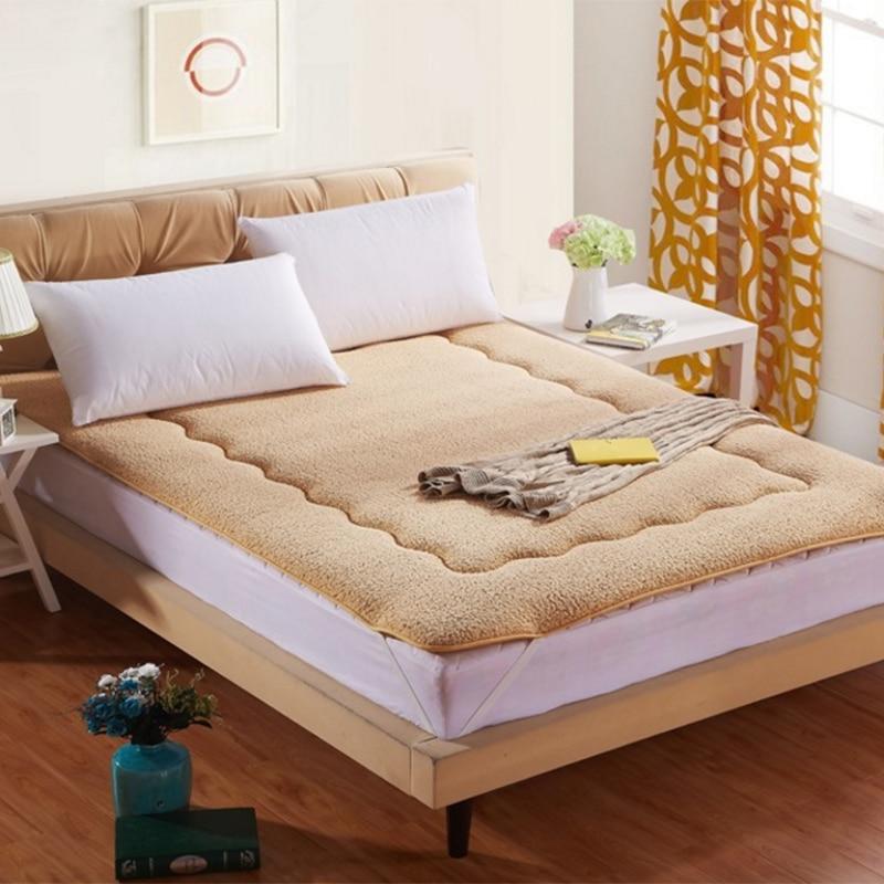 hongbo 1 pcs solid quilted bed tatami lamb velvet foldable mattress bed protection padchina - Tatami Bed