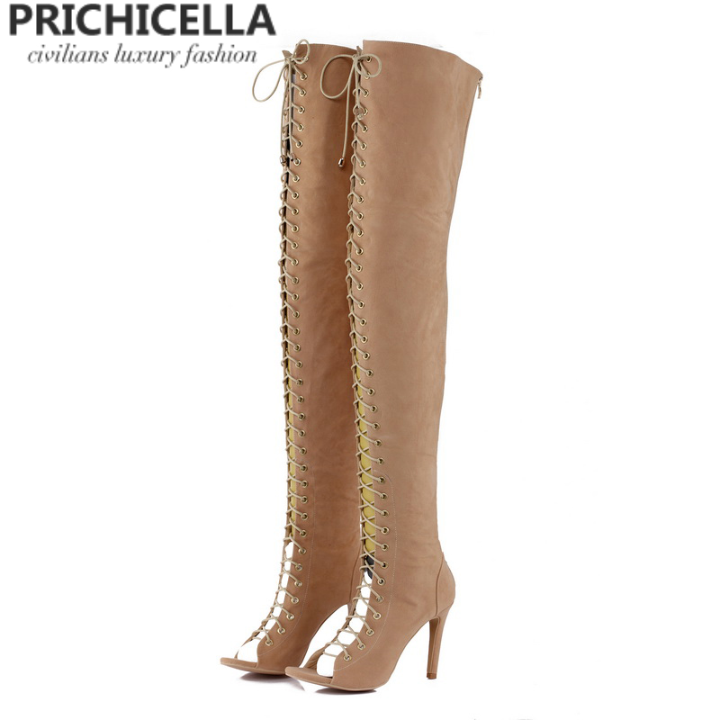 PRICHICELLA Sexy women open toe high heel lace up gladiator red black tan thigh high boots