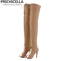 PRICHICELLA Sexy women open toe high heel lace up gladiator red black tan thigh high boots size35 42