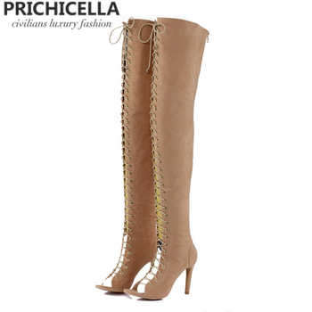 PRICHICELLA Sexy women open toe high heel lace-up gladiator red black tan thigh high boots size35-42 - DISCOUNT ITEM  0% OFF All Category